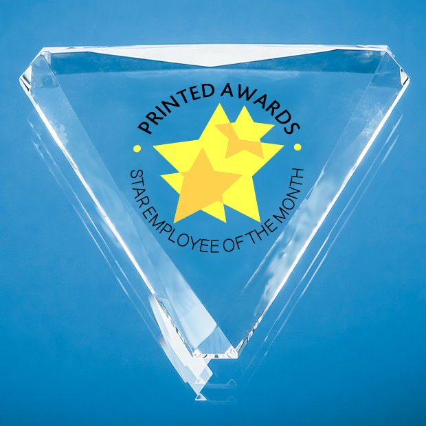 Optical Crystal Facet Triangle Printed Glass Paperweight