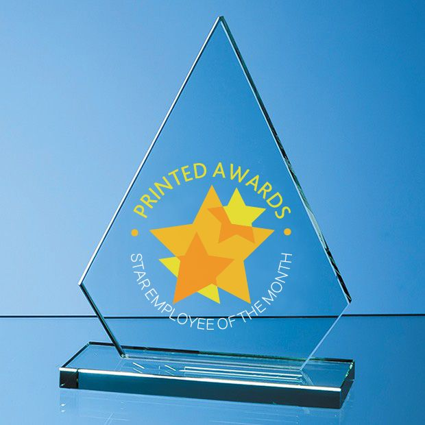 Jade Glass Peak Printed Trophy Award