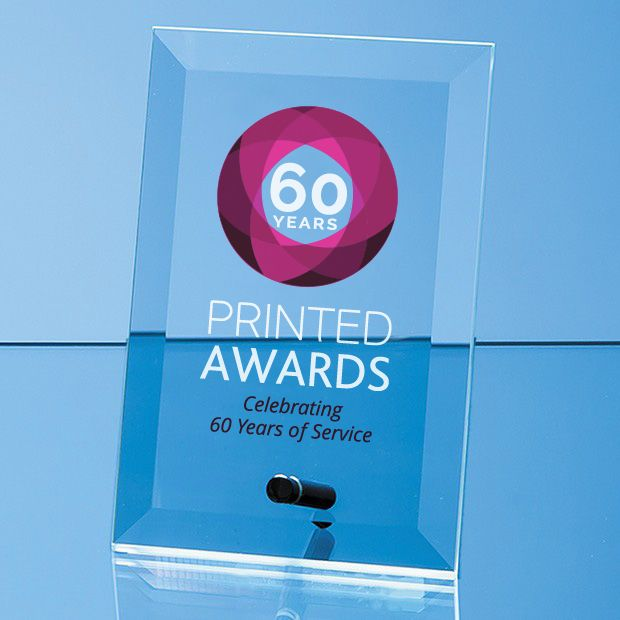 Jade Glass Bevelled Rectangle Printed Trophy Award with Chrome Pin