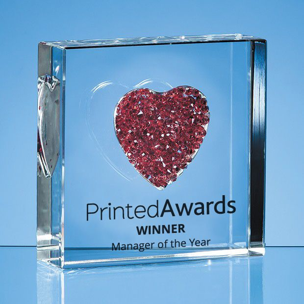 Red Diamante Heart Printed Glass Paperweight