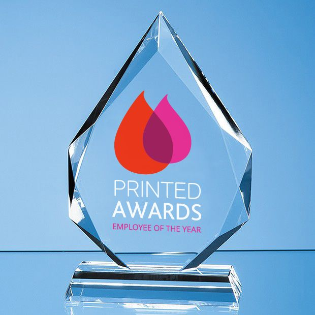 Clear Glass Facetted Diamond Peak Printed Trophy Award