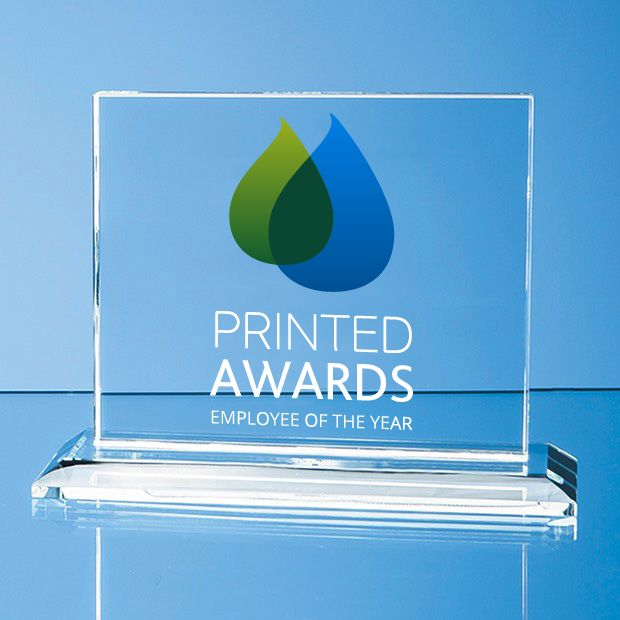 Clear Glass Horizontal Rectangle Printed Trophy Award