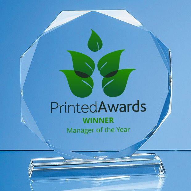 Clear Glass Facetted Octagon Printed Award