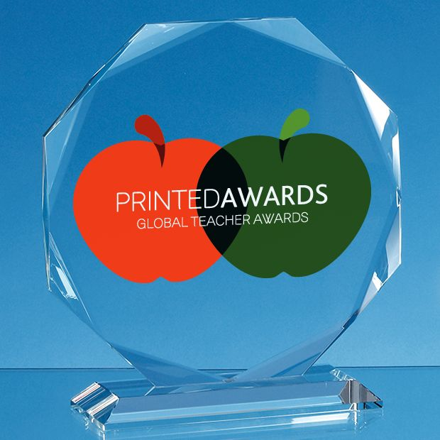 Clear Glass Facetted Octagon Printed Trophy Award