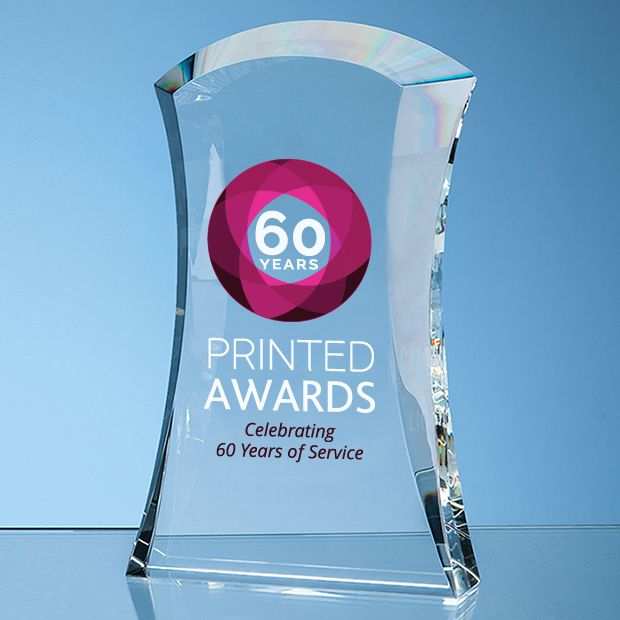 Optical Crystal Caledonian Arch Printed Glass Trophy Award