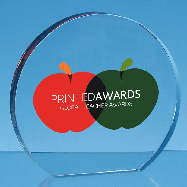 Clear Glass Freestanding Circle Printed Trophy Award