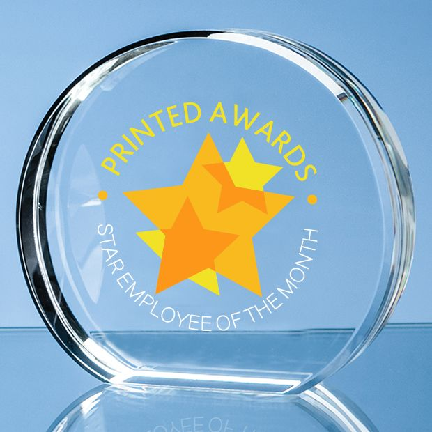 Optical Crystal Stand Up Circle Printed Glass Trophy Award
