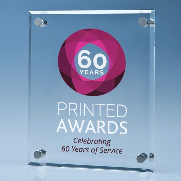 Printed Clear Glass Wall Display Plaque inc Fixing Kit