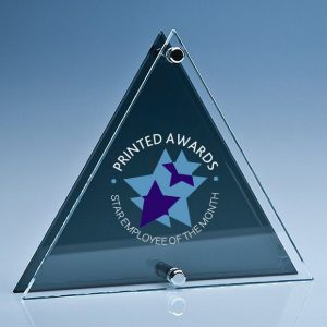 Clear & Smoked Glass Triangle Plaque