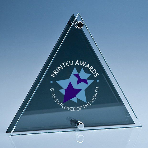 Printed Clear & Smoked Glass Triangle Plaque