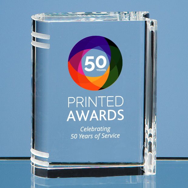Optical Crystal Miniature Book Printed Glass Trophy Award