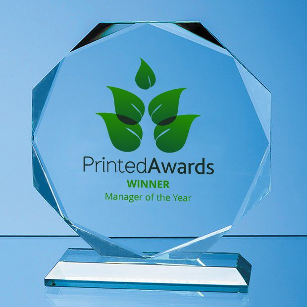 Jade Glass Facetted Octagon Printed Trophy Award