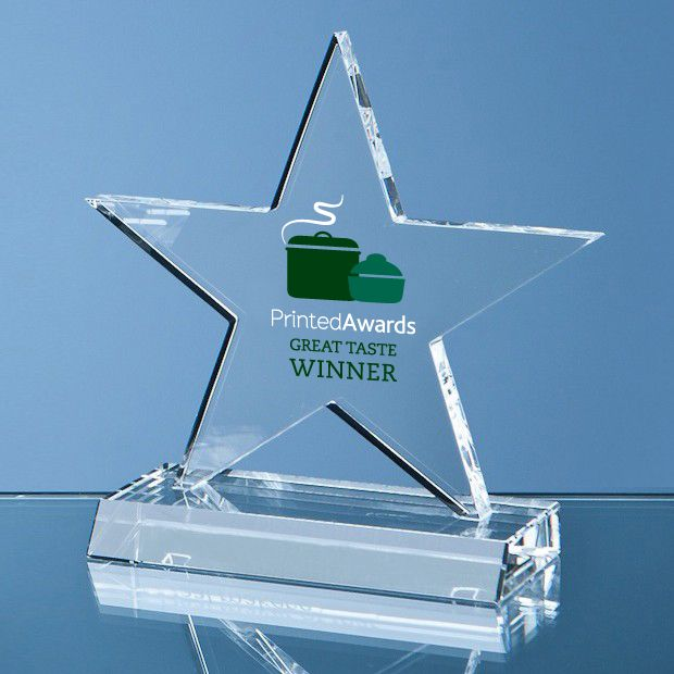 Optical Crystal 5 Pointed Star on Base Printed Glass Trophy Award