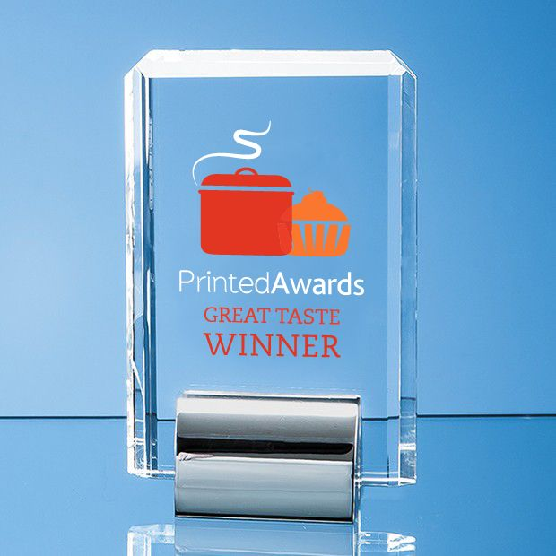 Optical Crystal Rectangle Printed Glass Award mounted on a Chrome Stand