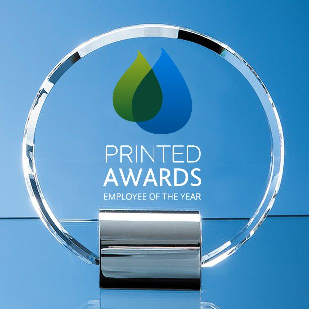 Optical Crystal Circle Printed Glass Trophy Award mounted on a Chrome Stand