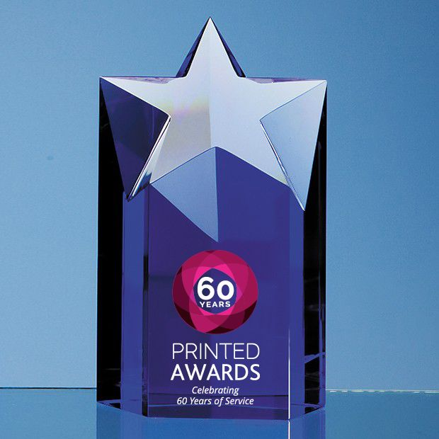 Sapphire Blue Optic Star Column Printed Glass Trophy Award