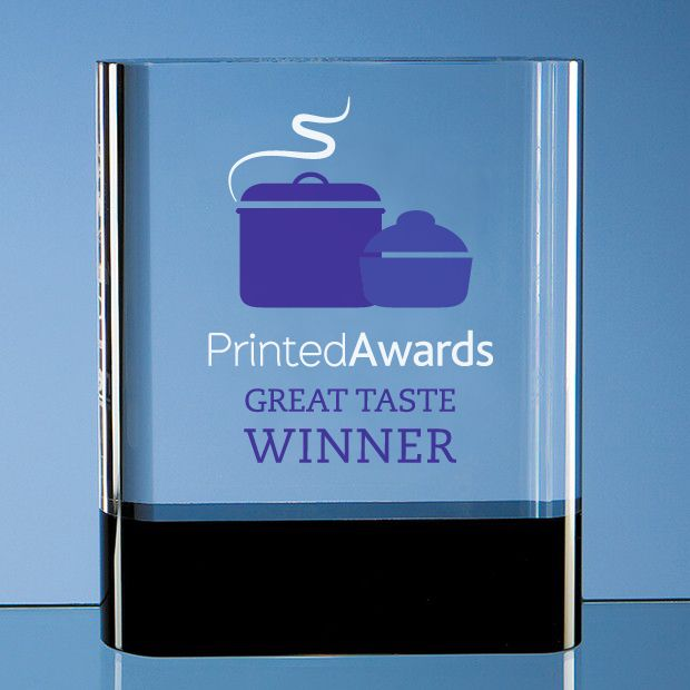 Optical Crystal Rectangle Printed Glass Trophy Award with Onyx Black Base