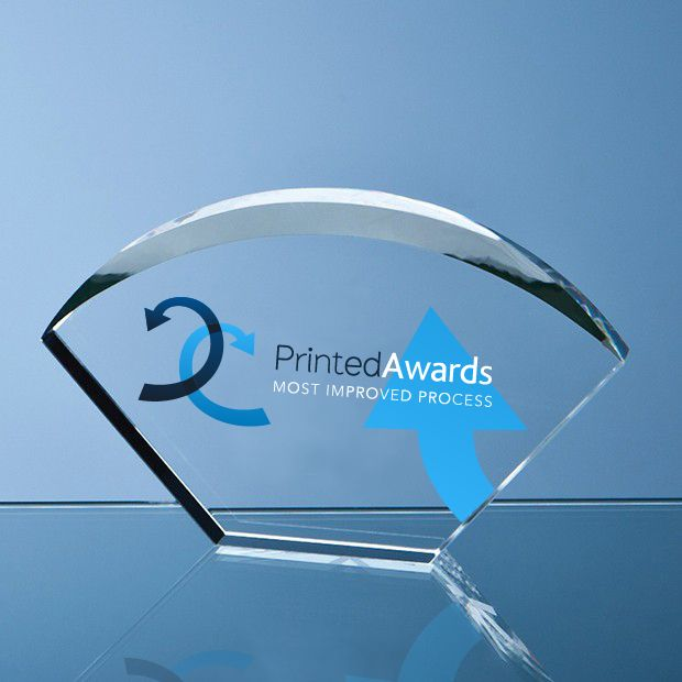 Optical Crystal Bevelled Arch Printed Glass Trophy Award