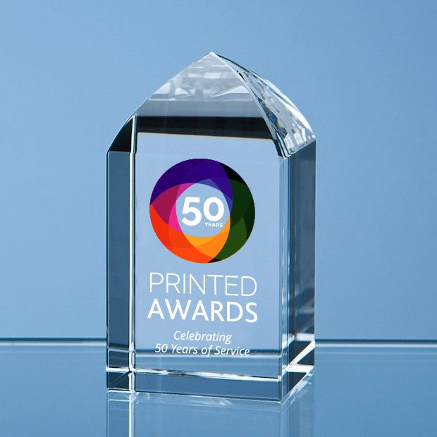 Optical Crystal Mini Tower Rectangle Printed Glass Trophy Award