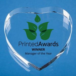 Optical Crystal Clear Heart Paperweight