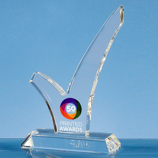 Optical Crystal 'Tick' Printed Glass Trophy Award