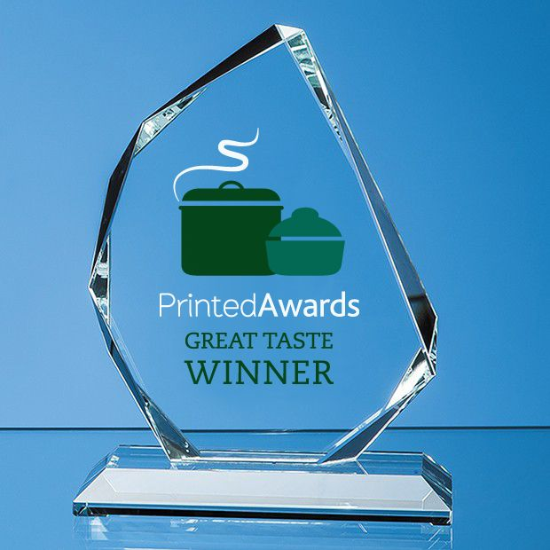 Clear Glass Facetted Ice Peak Printed Trophy Award