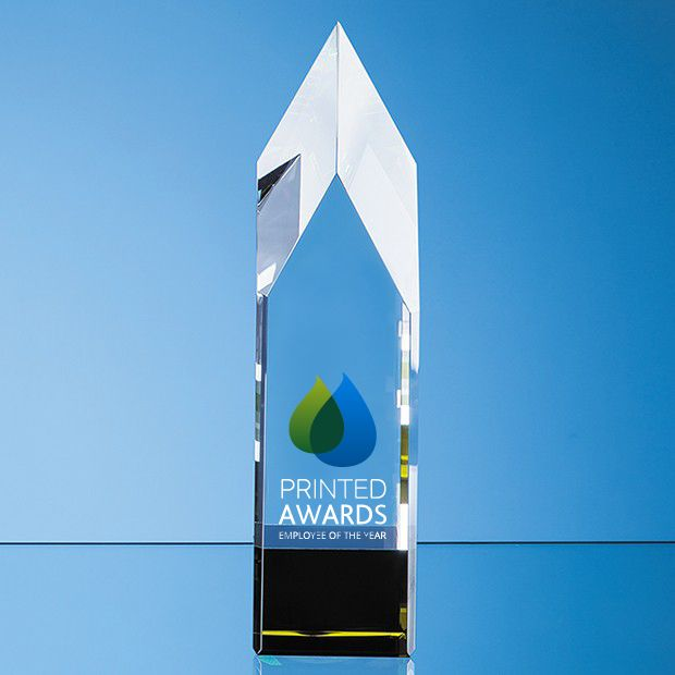 Clear & Emerald Green Optical Crystal Pointed Monolith Printed Glass Trophy Award