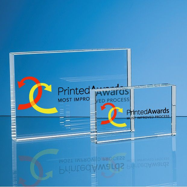 Optical Crystal Rectangle Printed Glass Trophy Award, H or V