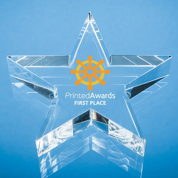 Optical Crystal Star Printed Glass Paperweight
