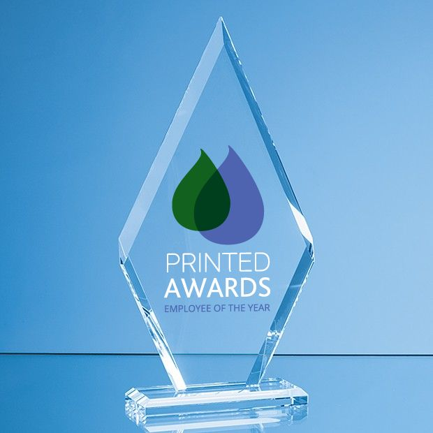 Clear Glass Le' Diamond Printed Trophy Award in a Gift Box