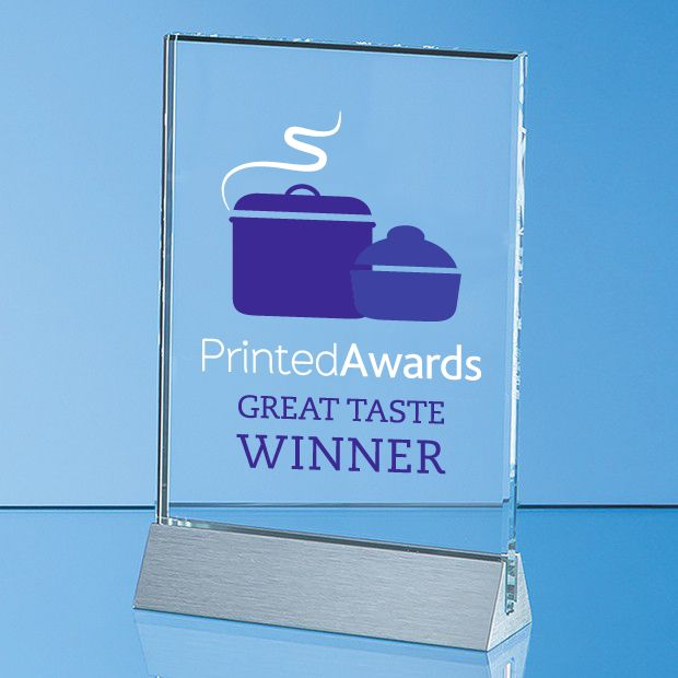 Clear Glass Rectangle Printed Trophy Award on an Aluminium Base