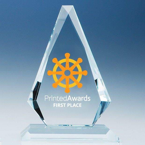 Clear Glass Windsor Diamond Printed Trophy Award