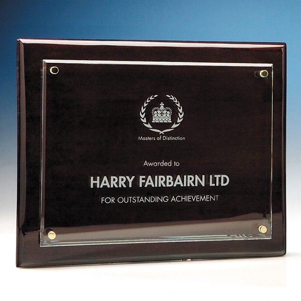 Clear Rectangle mounted on a RoseWood Printed Plaque