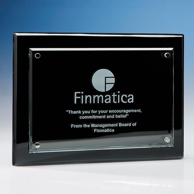 Clear Rectangle mounted on a Black Wood Printed Plaque