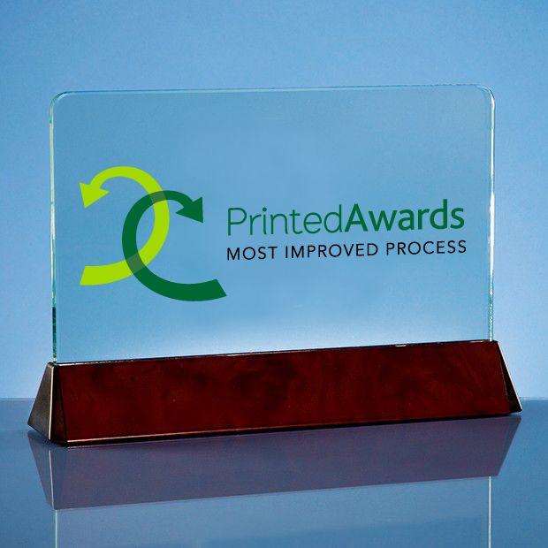 Clear Glass Rectangle Printed Trophy Award on a Wood Effect Base