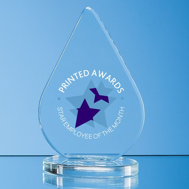 Clear Glass Teardrop Printed Award