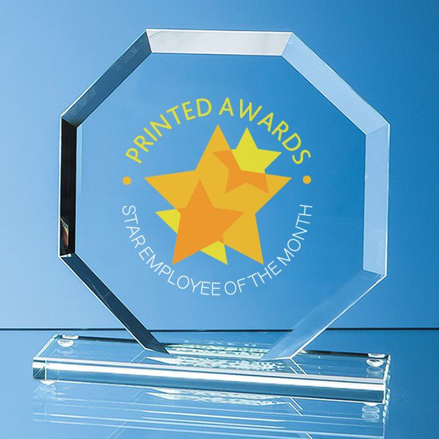 Jade Glass Bevelled Edge Octagon Printed Award