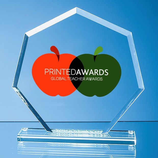 Jade Glass Bevelled Edge Heptagon Printed Trophy Award