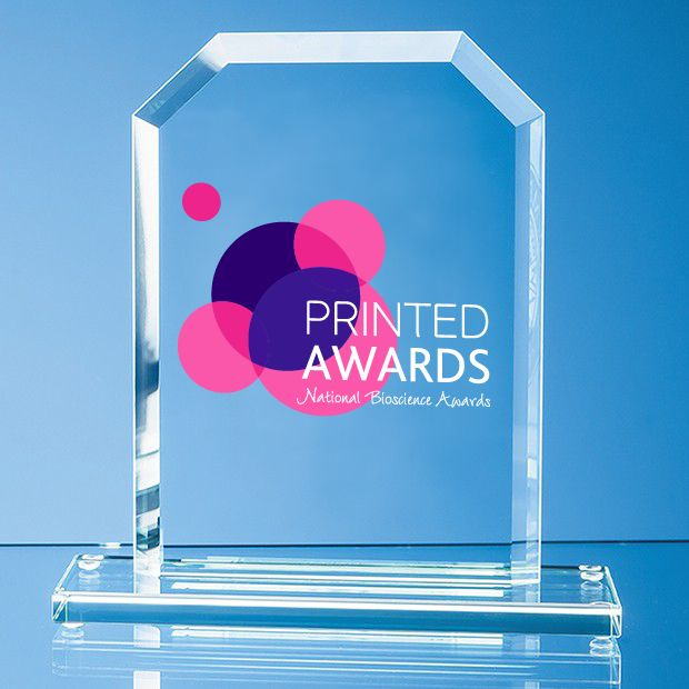 Jade Glass Bevelled Edge Honour Printed Trophy Award