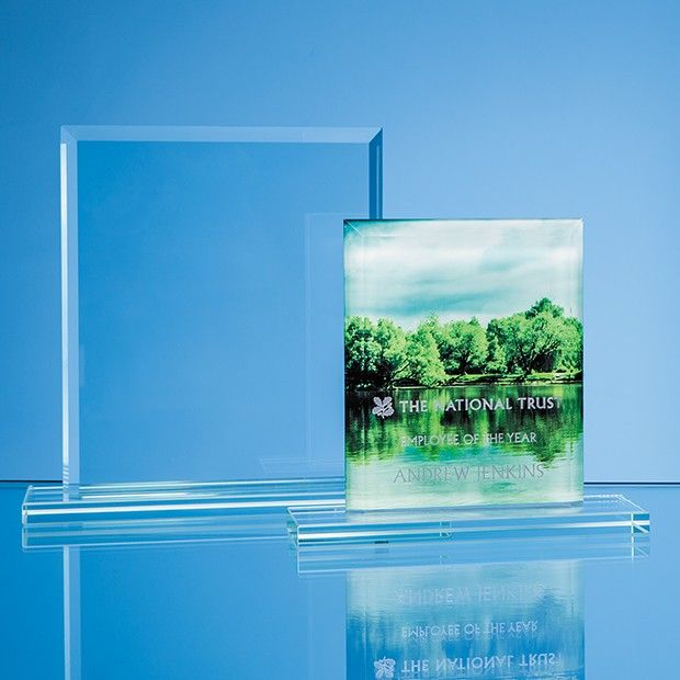 Jade Glass Bevelled Edge Rectangle Printed Trophy Award