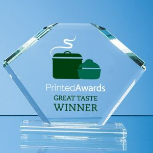 Jade Glass Bevelled Edge Clipped Square Award