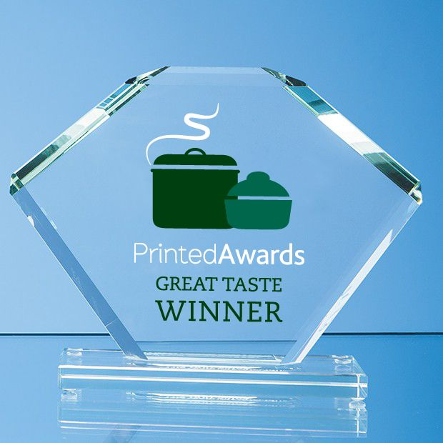 Jade Glass Bevelled Edge Clipped Square Printed Trophy Award