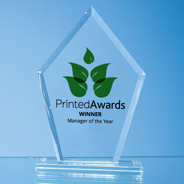 Jade Glass Bevelled Edge Diamond Printed Trophy Award
