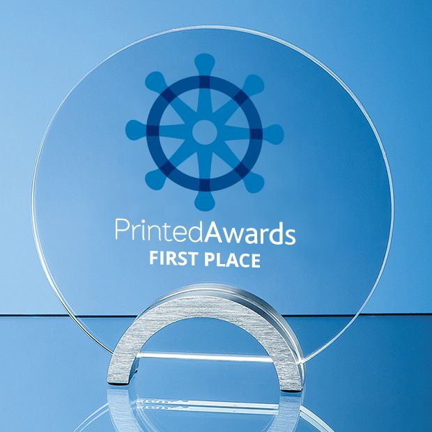 Clear Glass Circle Printed Trophy Award mounted on an Aluminium Base