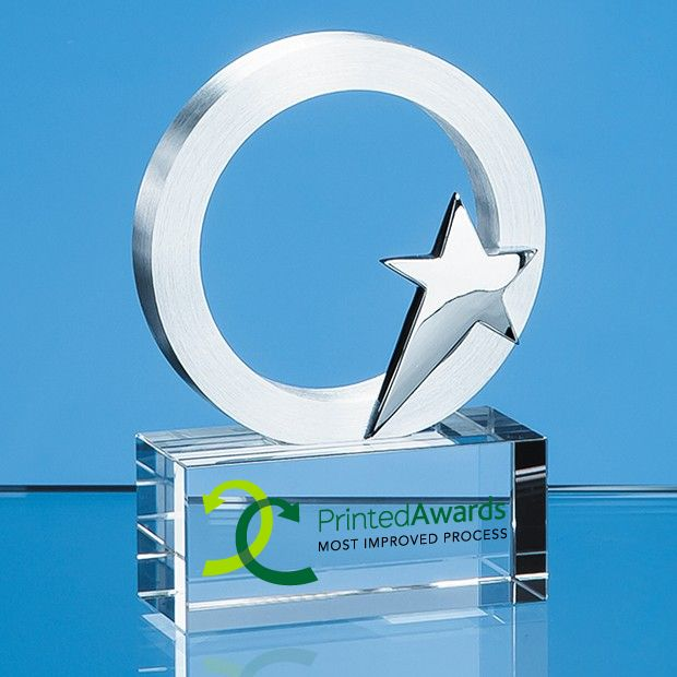 Silver Star & Circle Printed Glass Trophy Award on an Optical Crystal Base