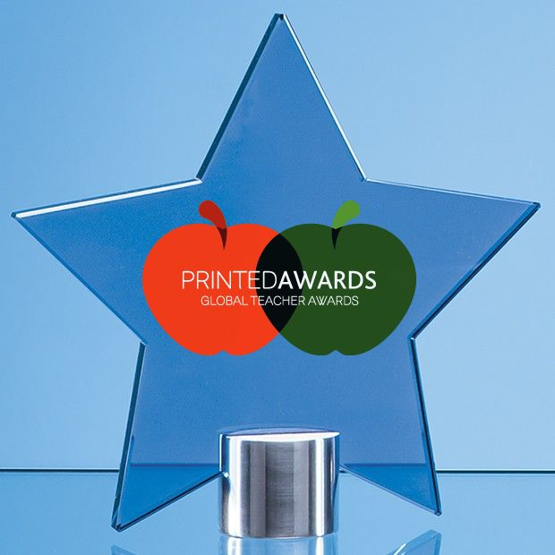 Cobalt Blue Glass Star Printed Trophy Award Mounted on a Brushed Aluminium Base
