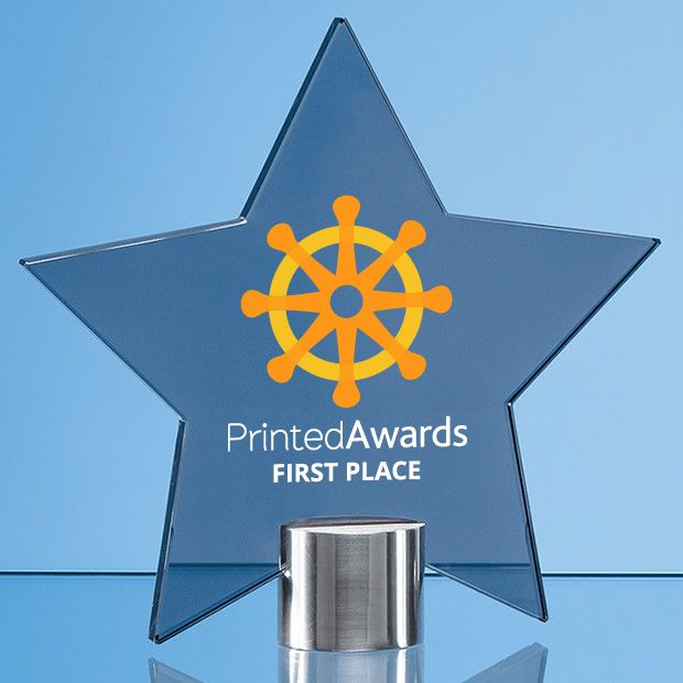 Smoked Glass Star Printed Trophy Award Mounted on a Brushed Aluminium Base