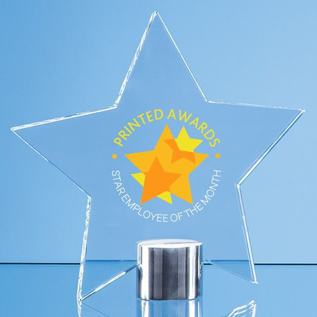 Clear Glass Star Printed Trophy Award Mounted on a Brushed Aluminium Base
