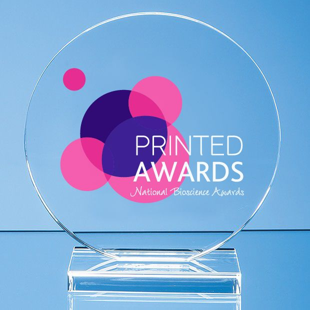Clear Glass Circle Printed Award