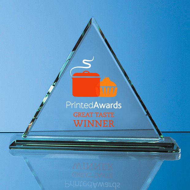 Jade Glass Pyramid Printed Trophy Award